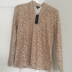 Talbots Tan/White Pull Over Top Med